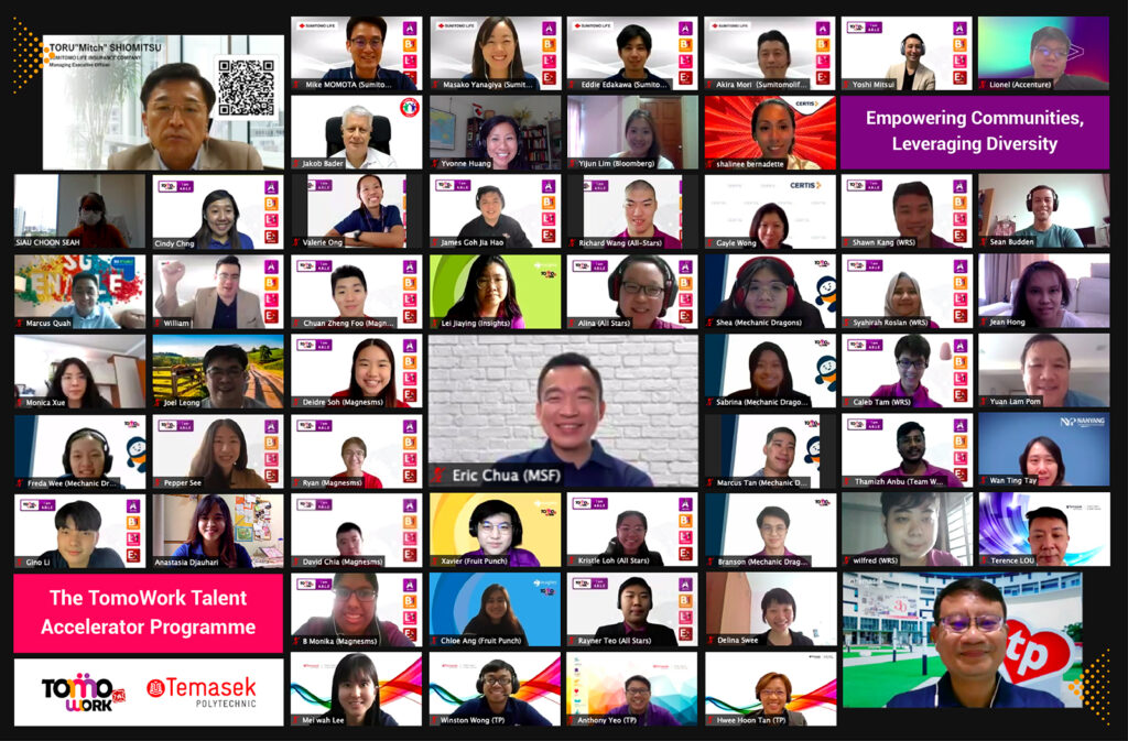 a screenshot of all attendees in Demo Day, with Toru Shiomitsu (Sumitomo Life Insurance), Samuel Wee (Temasek Polytechnic) and Eric Chua, a Ministry of Culture, Community and Youth & Ministry of Social and Family Development